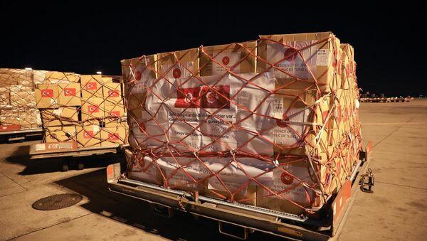 Türkiye'nin Tunus'a gönderdiği yardım malzemeleri - Sputnik Türkiye