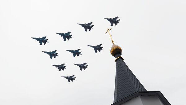 Su-34 avcı bombardıman uçakları ve Su-30MS avcı uçakları - Sputnik Türkiye