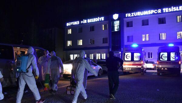 TFF 1. Lig ekiplerinden Büyükşehir Belediye Erzurumspor'un kulüp binasında dezenfekte çalışması  - Sputnik Türkiye