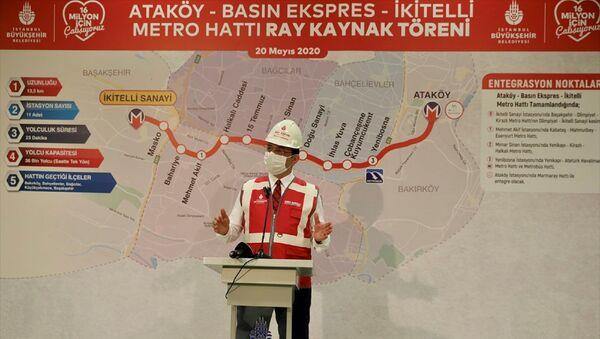 İstanbul Büyükşehir Belediyesi (İBB) tarafından yapımına 2016'da başlanan İkitelli-Ataköy Metro Hattı'nda rayların döşenmesine başlandı. Programda İBB Başkanı Ekrem İmamoğlu konuşma yaptı. - Sputnik Türkiye
