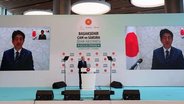 Başakşehir Çam ve Sakura Şehir Hastanesi açılış töreni, Erdoğan-Abe - Sputnik Türkiye