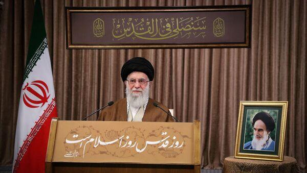 İran Dini Lideri Ayetullah Ali Hamaney, 'Kudüs Günü' dolayısıyla konuşma yaptı. - Sputnik Türkiye