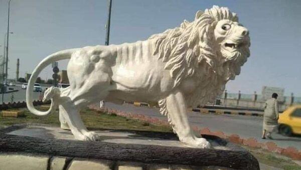 Irak'ın güneyindeki Necef kentinde belediyenin bir meydanda yaptığı ve maliyeti 79 milyon Irak Dinarı olan (yaklaşık 65 bin dolar) aslan heykeli büyük tepkiye yol açtı.  - Sputnik Türkiye
