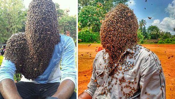 Hindistan'da arıcılık yapan Nature M.S. olarak bilinen 24 yaşındaki genç, 60 bin arının kafasında durmasına izin verdi. Nature ayrıca 4 saat 10 dakika boyunca arıları kafasında tutarak Guinness Rekorlar Kitabı'na da girdi. - Sputnik Türkiye