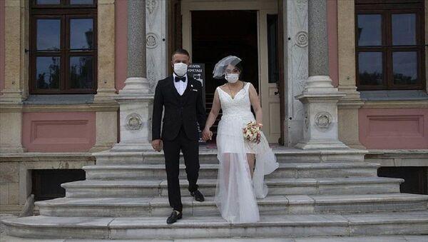 Düğün, nikah, koronavirüs, maske - Sputnik Türkiye