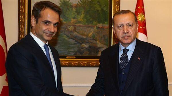 Cumhurbaşkanı Erdoğan, Yunanistan Başbakanı Miçotakis - Sputnik Türkiye