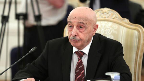 Libya Ulusal Ordusu Komutanı Halife Hafter'i destekleyen Tobruk'taki Temsilciler Meclisi'nin Başkanı Akile Salih - Sputnik Türkiye